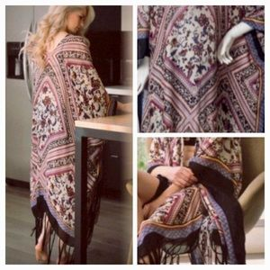 Diamond tassel duster kimonocardigan